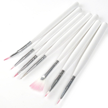 7Pcs Wooden White Handle Nail Art Acrylic UV GEL Brush Pen Polish Set NB007