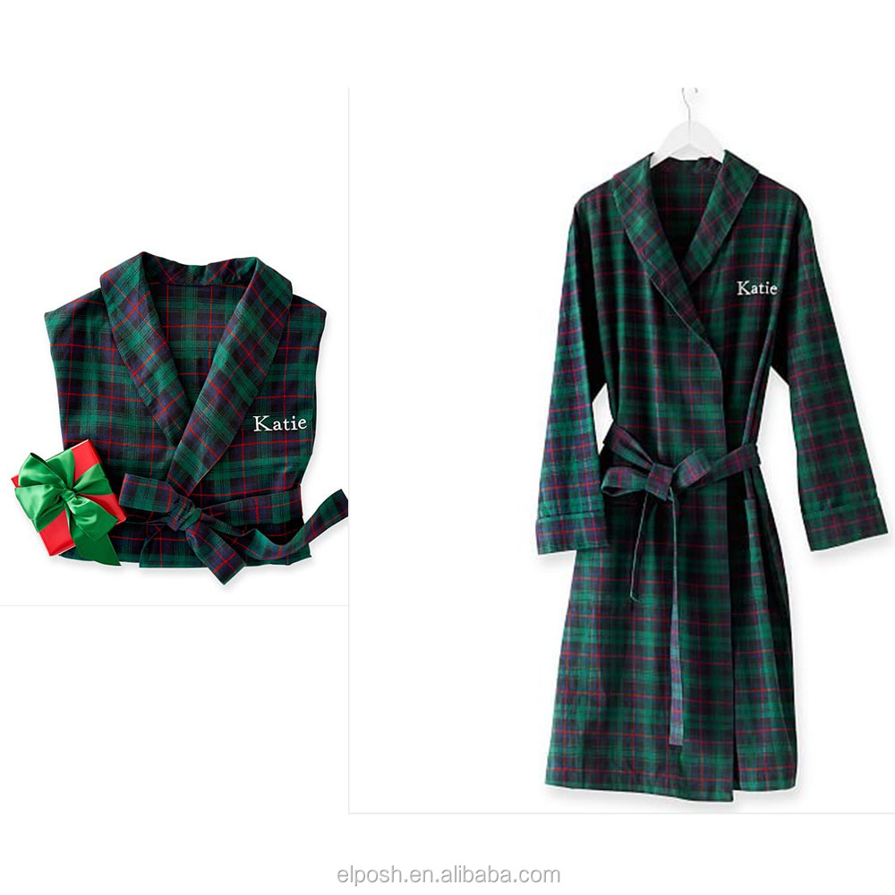 New Style Monogram Flannel Cotton Plaid Christmas robe