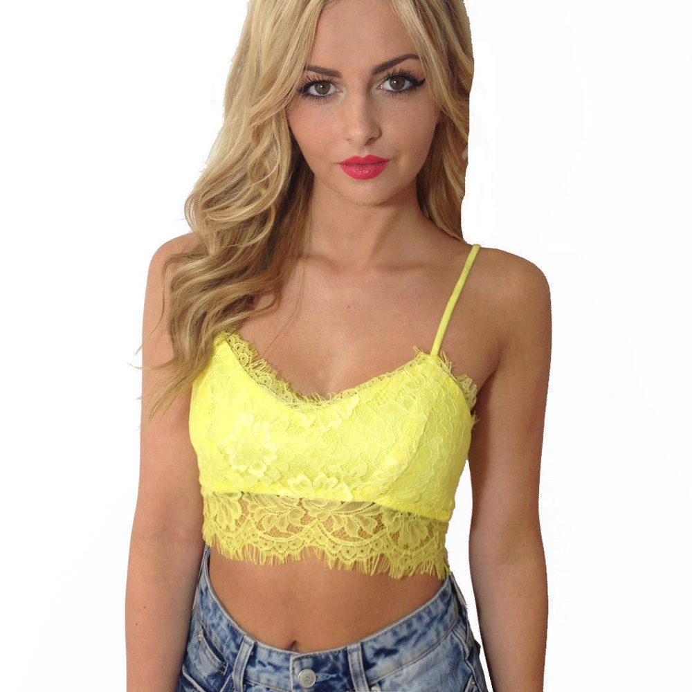 f8c06ce043 Get Quotations · 2015 New Sexy Women Lace Crop Top Floral Eyelash Zip Back  Strappy Strap Cami Tank Unpadded