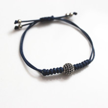 Fashion Irises Charms Macrame CZ Disco CZ Ball Woven Braided Wax Cord Adjustable Stretch Macrame Bracelet for Men
