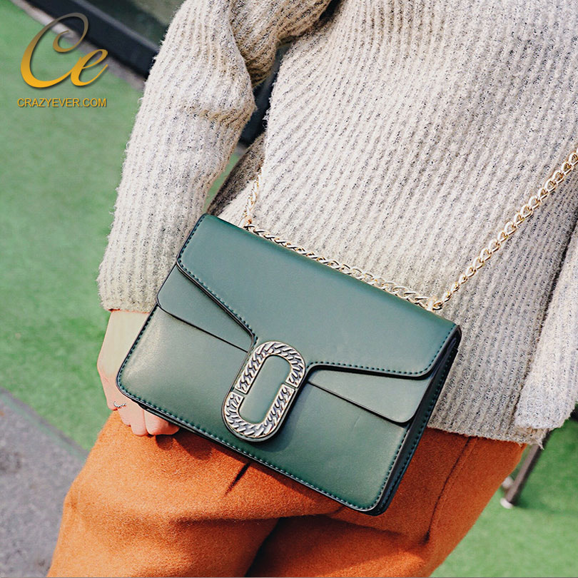 Womens Crossbody Bags Fashion Vintage Green Chains Elegant Small Shoulder Bags For Women
