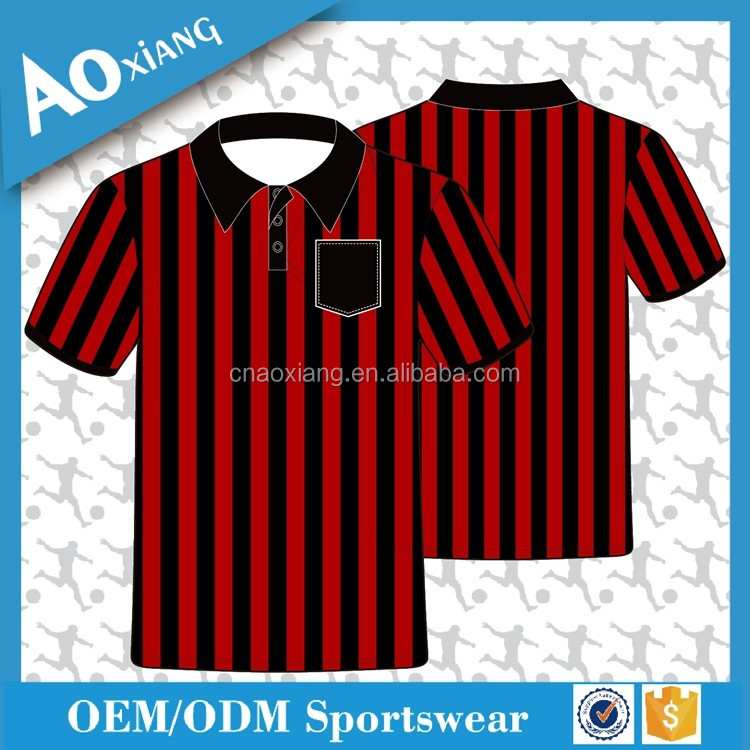 New Sublimated Design black red striped Soccer referee Jersey