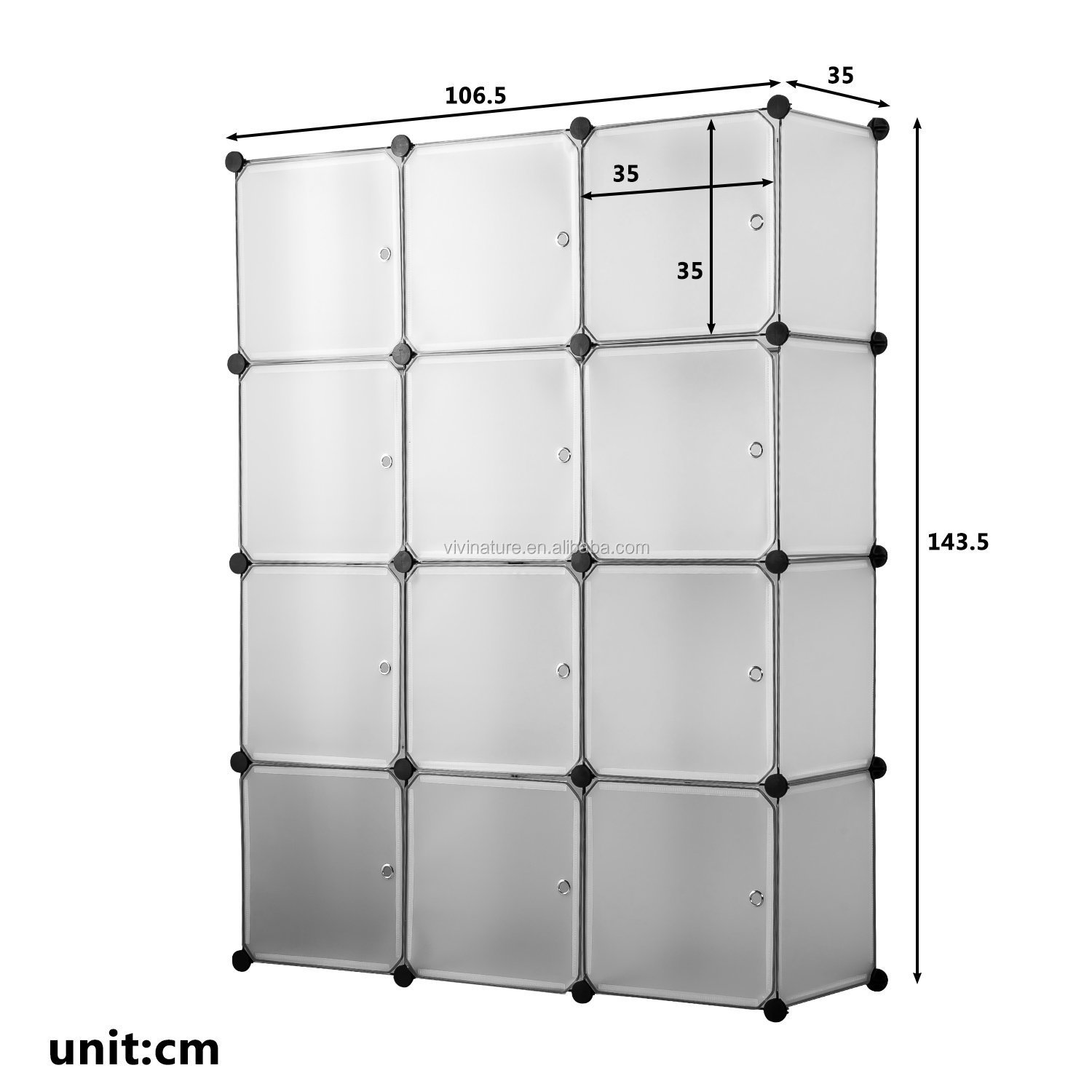 Multifunctional Modular Wardrobe Cabinet with Hanging Rod for Clothes Shoes Toys Bedroom Living Room