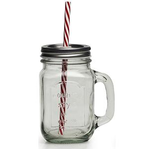 b8a095878ba4 Wholesale 480nml 16oz custom logo glass ice cold juice water drink mason  jar with straw and handle