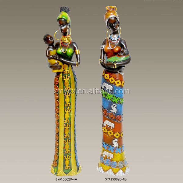Home indoor decoration polyresin african statue for sale