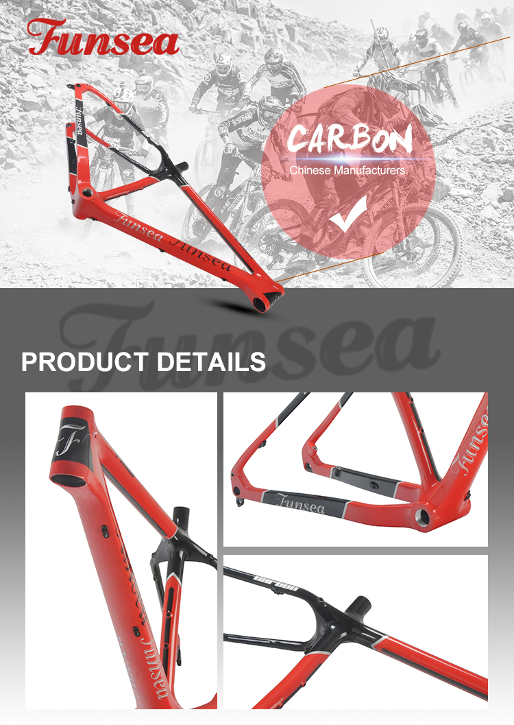 "Funsea china factory OEM/ODM gloss black red 16""/18"" carbon T700 fatbike frame chinese carbon fiber bike frame for fat bike 26"""