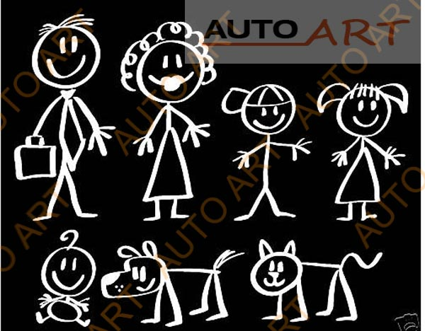 Fun Classic Stick Figure Family Window Sticker Decal