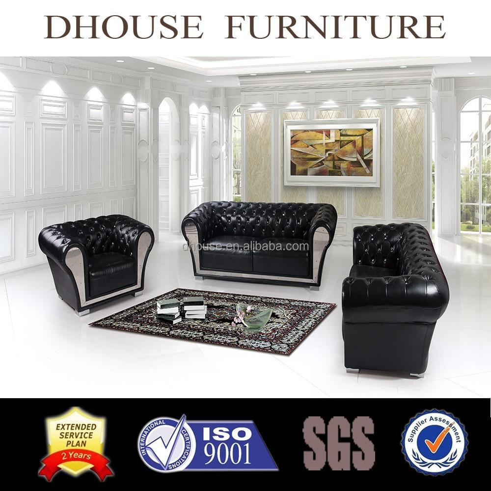 Diamond Studded Black Leather Chesterfield Sofa Classic Italian ...