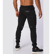 Professional custom mens solid color sweat pants slim fit jogger pants black joggers
