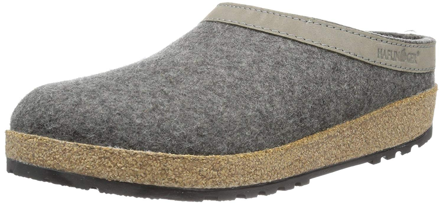 9d5c0a242bf Get Quotations · Haflinger Unisex GZL Leather Trim Grizzly Clog