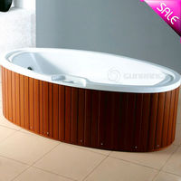 luxury wooden skirt movable massage oval shaped bathtub