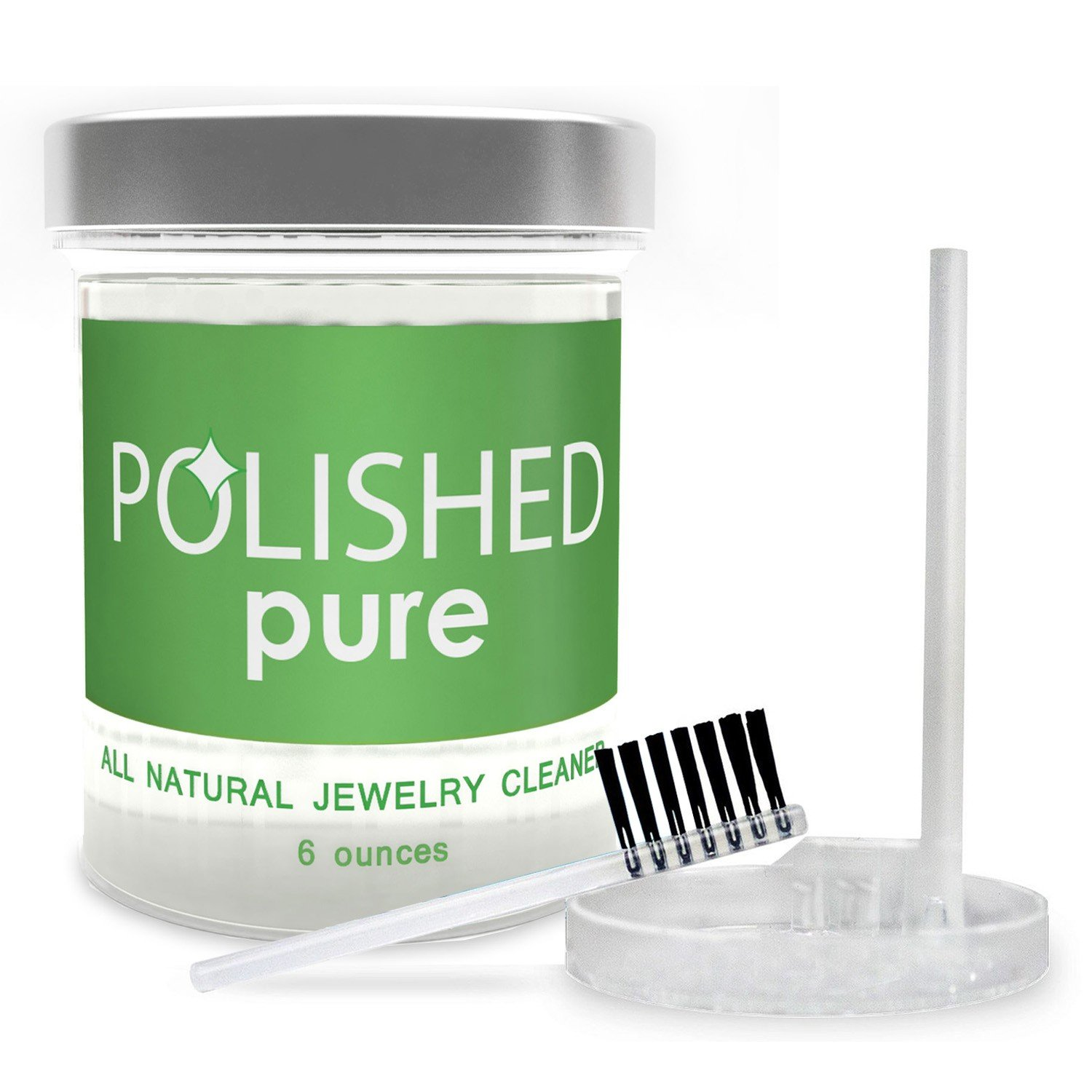 Polished All-Natural Jewelry Cleaner, Professional Clean in 2-Minutes! No Ammonia Jewelry Cleaning Solution, Brush + Tray   Made in USA, Safe on Skin + Diamond Ring, Sapphire + Gold Jewelry Cleaners