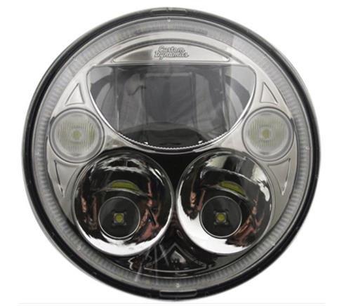 "Custom Dynamics CDTB-7-C Trubeam Headlights, Chrome for Harley Models with 7"" Headlamps"