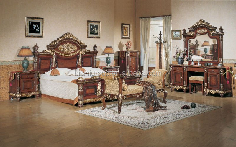 Good Luxury Middle East Style King Size Bed, Custom Made Solid Wood Bedroom  Furniture With Carvings