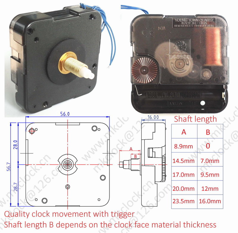 Quality 12888 Quartz Clock Movement With Trigger For Chime