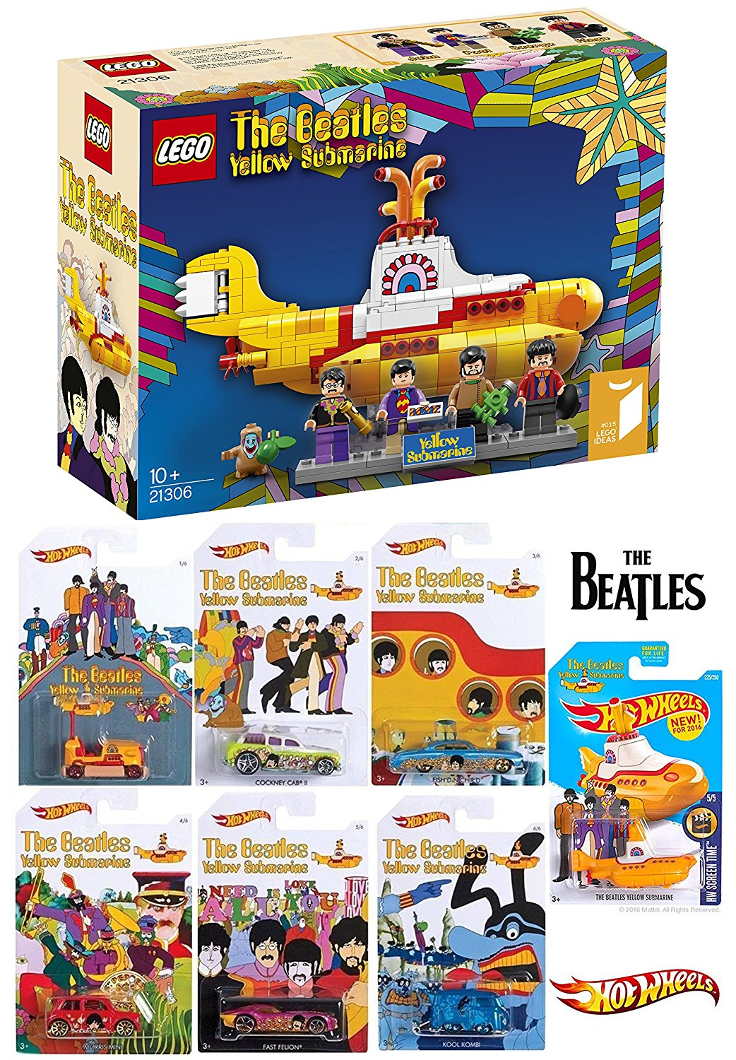 Lego Beatles & Hot Wheels Yellow Submarine New Model 2016 Complete Exclusive car set Blue Meanie Kool Kombi / Bump Around Cockney Cab / Fish N Chip'd Morris Mini Fast Felion rock band Limited Edition