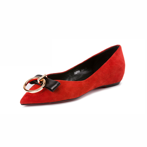 China suppliers new fashion red suede pointed wedge flats casual dresses 2017 with Metal decoration
