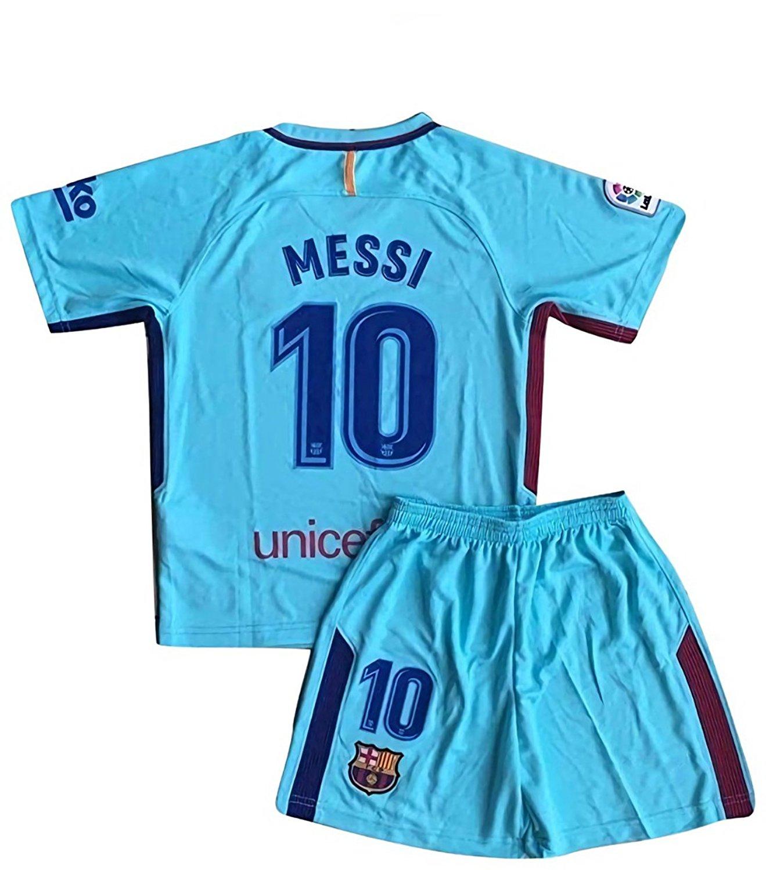 5e290e6c056 MensHotyo 2017 2018 Barcelona Messi 10 Kids Youths Away Soccer Jersey Shorts