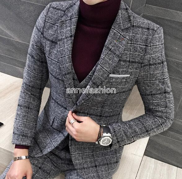 91e103eb2b0b 2019 Wholesale Autumn Winter Window Check Pattern Woolen Men Suit ...