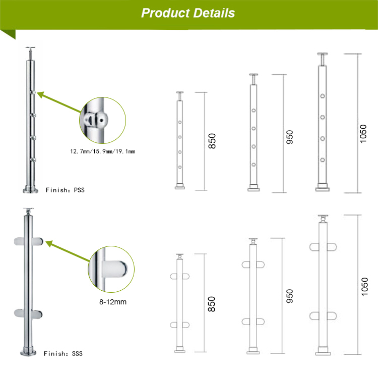 Handrail Fitting Wholesale Cheap Stainless Steel Glass