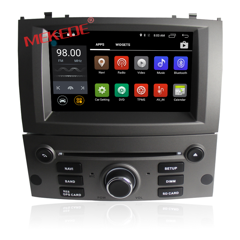 1080 HD capacitive touch screen android 7.1 system car redio cassette for Peugeot 407 support wifi bluetooth