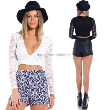 Sexy Long Sleeve Ladies Top Plunge Neckline Lace Girls Top Design ...