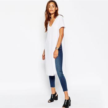 e607039d9909 Girls Longline Plain White V Neck 100 Cotton White T Shirt - Buy 100 ...