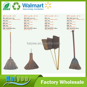 Wholesale Custom Short and Long Handle Natural Palm Bamboo Broom Outdoor Street Garden Broom