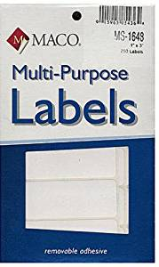 Maco Multi-Purpose Handwrite Labels - 1 In. X 3 In. [4 Pieces] - Product Description - Maco Multi-Purpose Handwrite Labels- Shape: Rectangular- Size: 1 In. X 3 In.- Labels Per Package: 250These High Quality White Labels Are Perfect For A Variety ...