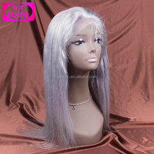 Wedding Hairstyles Brazilian Human Hair Silk Straight Grey Color Brazilian Hair Full Lace Wig