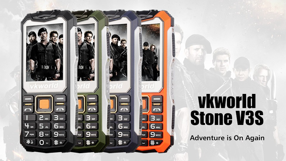 Cheap Price vkworld Stone V3S 2.4inch Screen 2200mAh Battery 0.3MP Camera Daily Water-Proof,Dust-Proof Dual SIM Mobile Phone