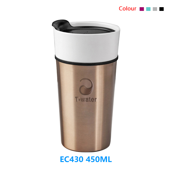 Promotional new design high quality quick delivery print purple reusable ceramic mug without handle