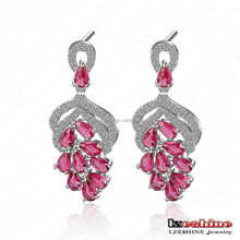 LZESHINE Rosy Nho-Shape Zircon Nữ <span class=keywords><strong>Drop</strong></span> Earring Sỉ joias finas CER0085-B