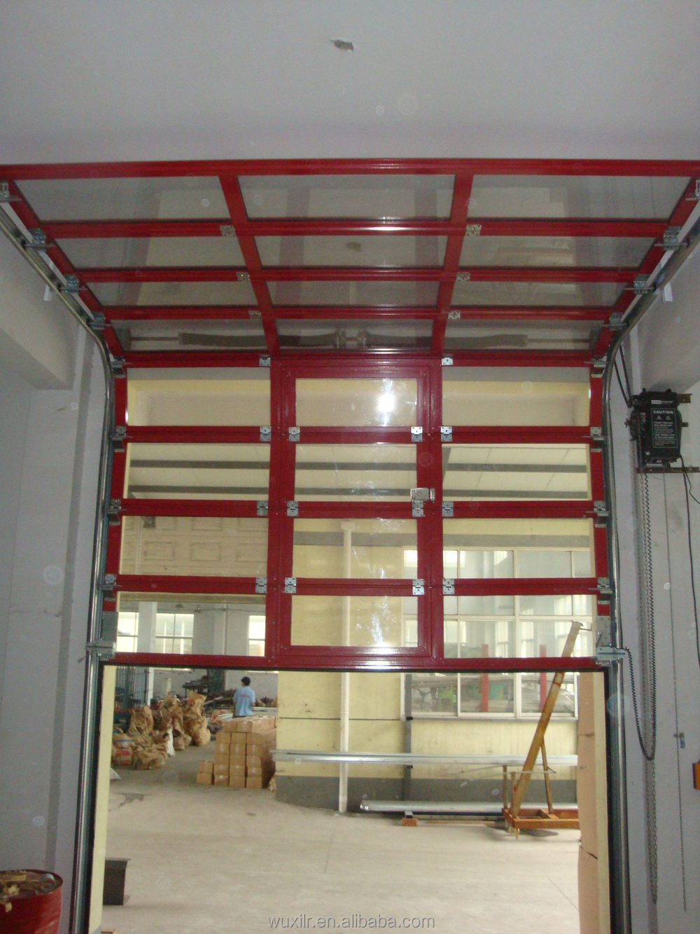 Used Commercial Aluminum Frame Glass Panel Garage Door