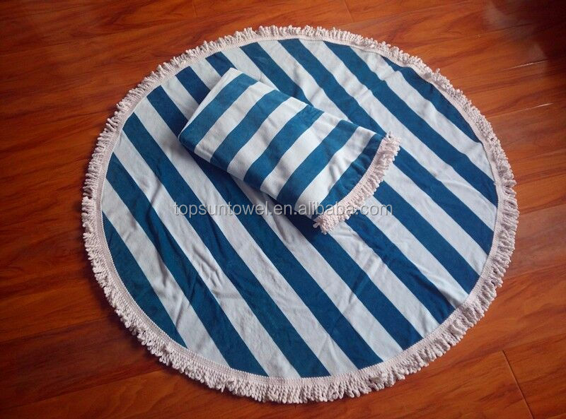 custom 100% cotton printed striped round beach towel with tassels/circle towel fringe