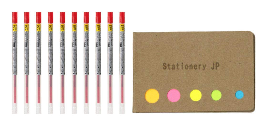 Uni-ball Signo Gel Ink Refills for Uni Style Fit Gel Multi Pen 0.38mm Red Ink, 10-pack, Sticky Notes Value Set
