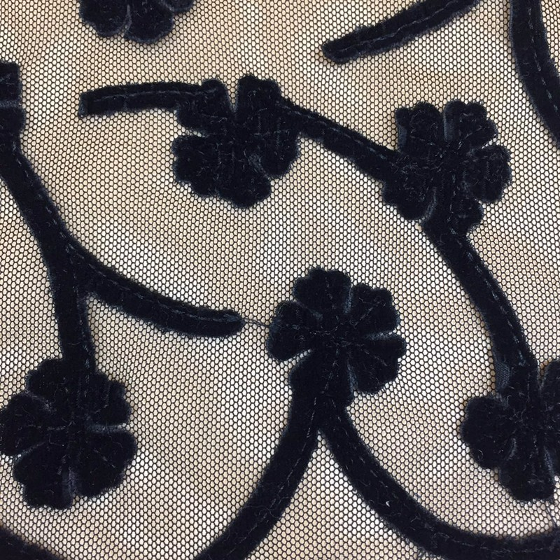wholesale home textile black mesh lace embroidered swiss velvet lace fabric