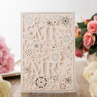 Wedding cards MR & MRS laser cutting white lace paper Invitation Card place name cards