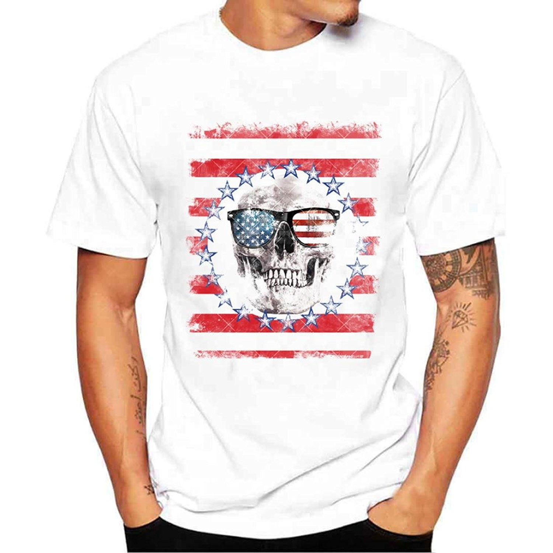 FUNIC 2018 Hot Sale ! Mens Flag Printing Tee Shirts Summer Short Sleeve T Shirt Tops Blouse