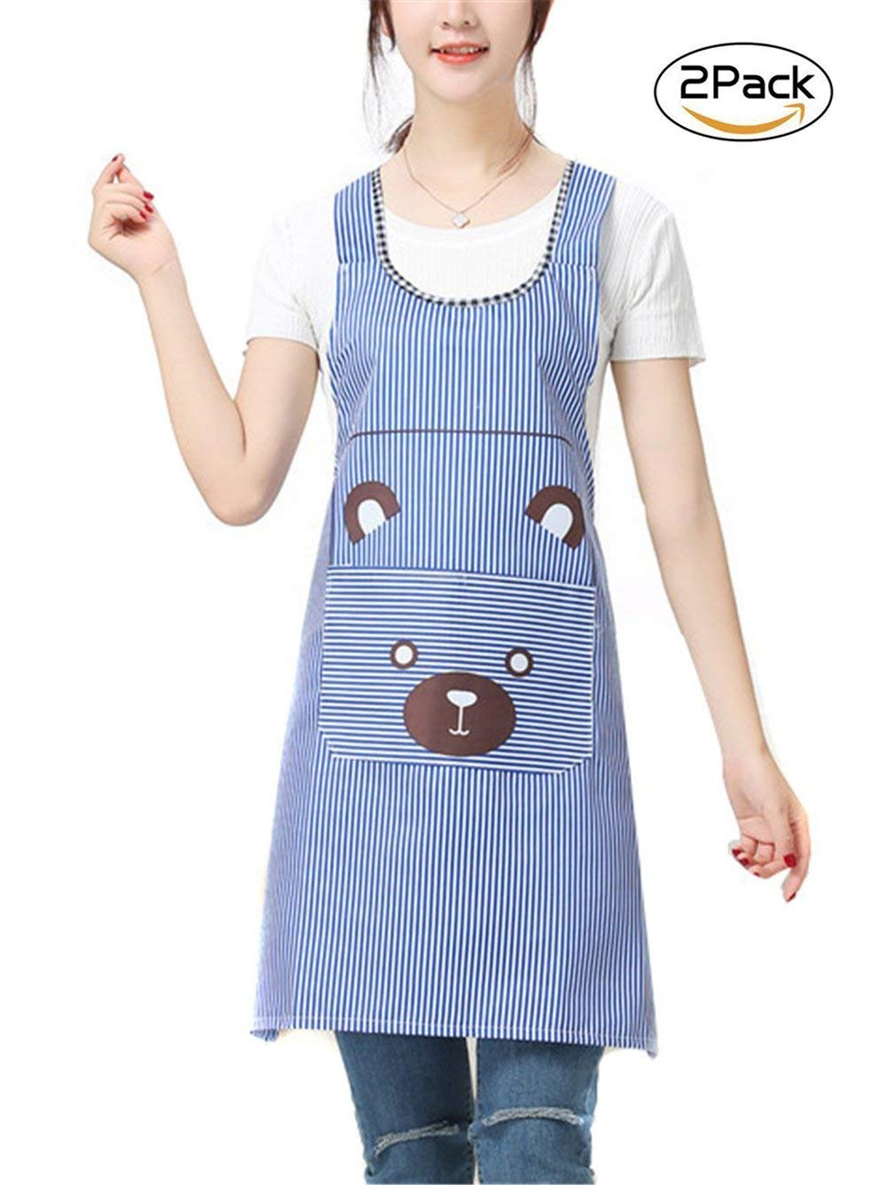 2-Piece Shoulder Strap H-type Fashion Aprons, Sleeveless Home Service Waterproof Cute PVC Aprons, Waterproof Sleeveless Aprons (Blue)