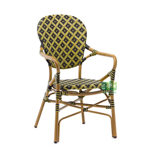french chair aluminium cafe outdoor patio armrest chair rattan-E3011