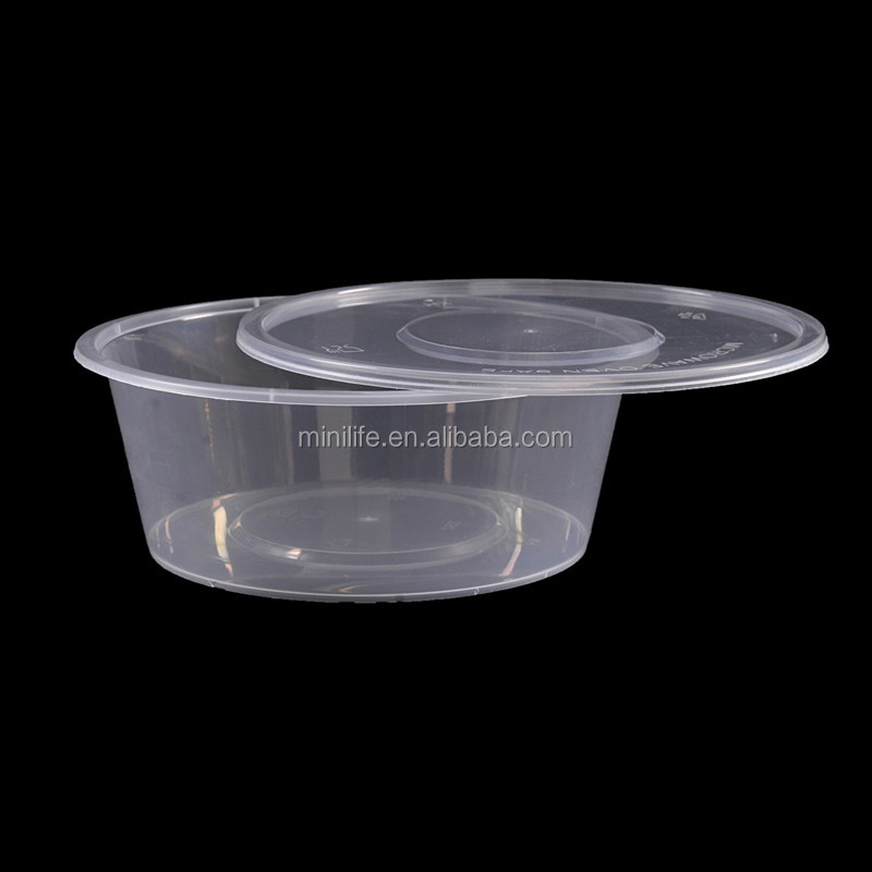 750ML PP Round Food Container,Airtight Disposable Microwaveable Oven Take Out Boxes