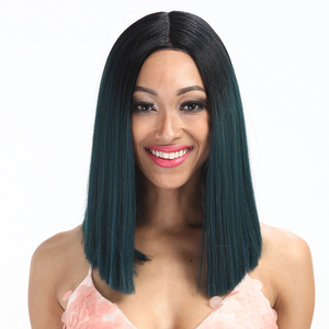Noble gold synthetic bob lace frontal wig ombre silky straight brazilian hair best selling female high quality lace front wig
