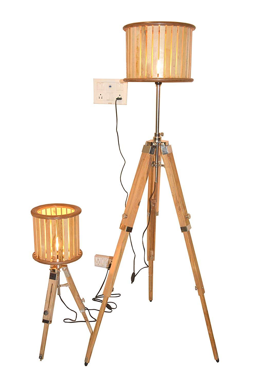 Vintage Designer Set of Two Tripod Floor Lamp Natural Wood Floor Shade Lamp Home Decor Shade lamp