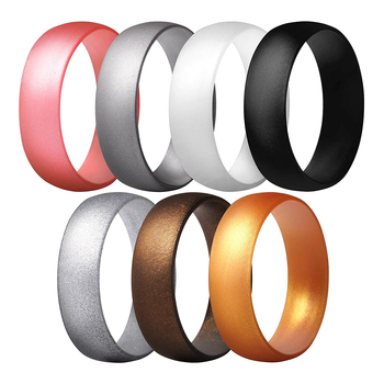 Amazon Best Seller 7 Pack Mens Silicone Wedding Ring Custom for Gift