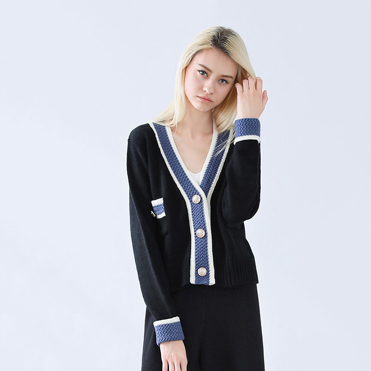Flower decoration long sleeves women knitted thin cardigan with button