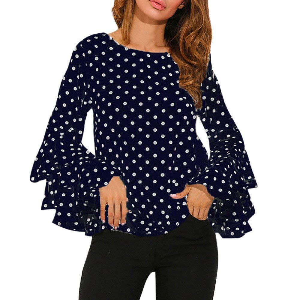 POTO Shirts Clearance,Women Ladies Loose Polka Dot Shirt,Long Sleeve Tops Pullover Blouse Sweatshirt Tee