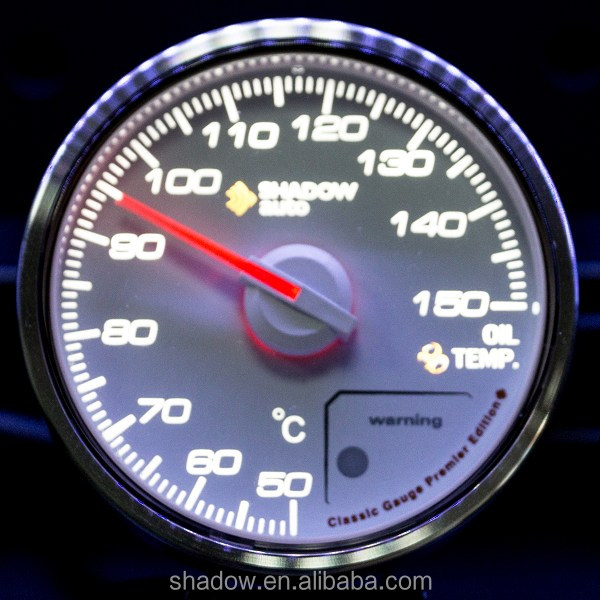 Shadow Classic 60mm Temperatura de Aceite Gauge Cara Blanca Rendimiento Gauge Meter Car