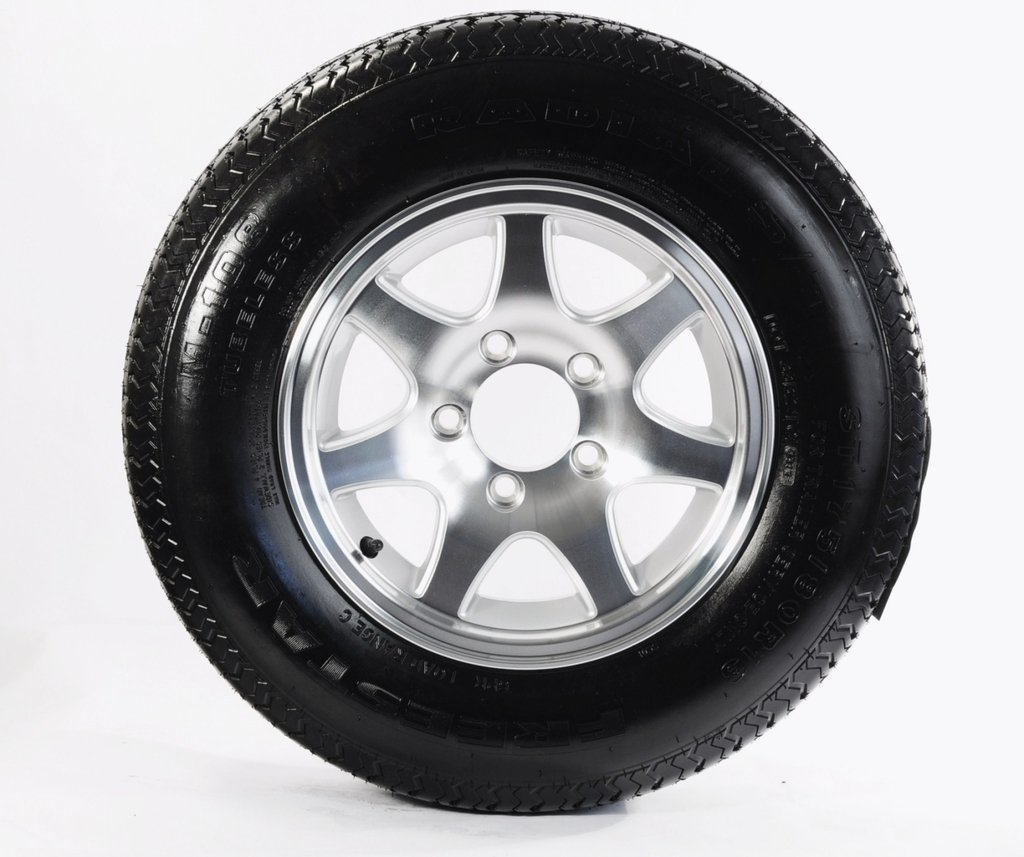 "eCustomRim Trailer Tire + Rim ST205/75D14 F78-14 14"" T02 5 Lug Bolt Wheel Aluminum 7-Spoke"