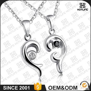 Stainless steel heart pendant 2 half heart couple necklace buy stainless steel heart pendant 2 half heart couple necklace aloadofball Choice Image